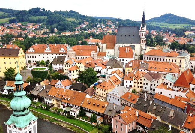 The colorful Czech village on the Trek Travel's Prague to Vienna bike tour.