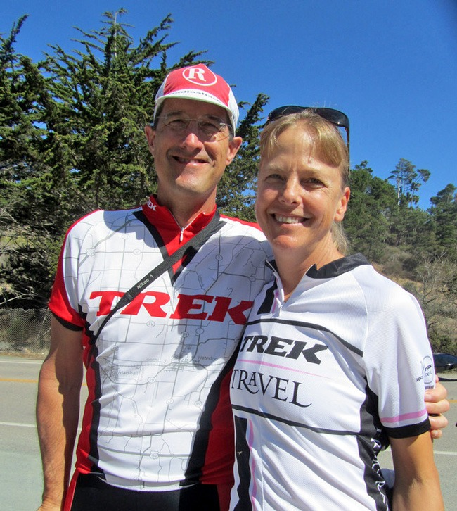 Peggy and Dr. Timmerman on a Trek Travel bike tour.