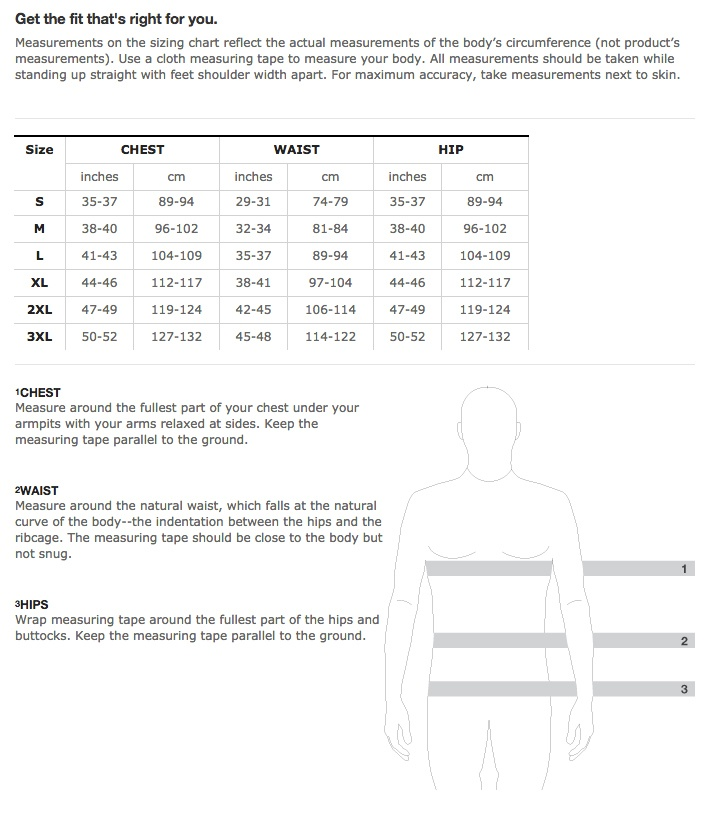 Trek Travel Jersey Sizing Chart