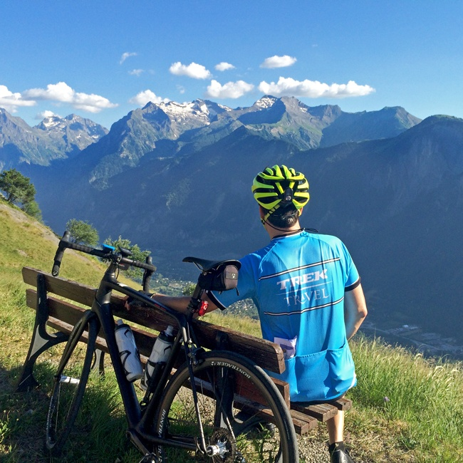 Breathtaking views in the Alps on our Classic Climbs of the Tour bike tour