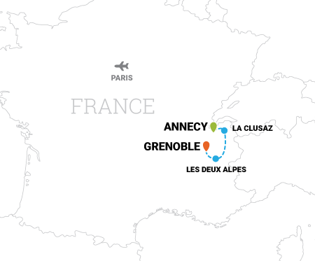 Map of Tour de France cycling vacation in Annecy, France