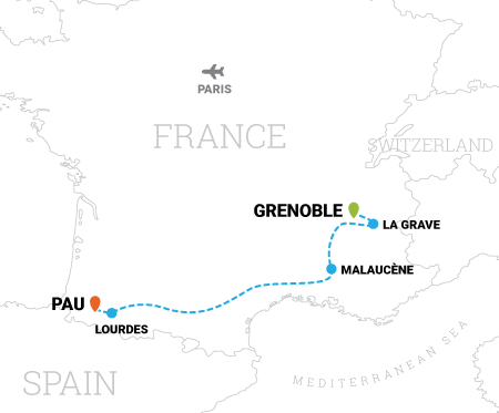 Map of Tour de France cycling vacation of the Epic Climbs in France