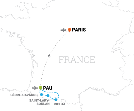 Map of Tour de France cycling vacation from Pyrenees to Paris, France